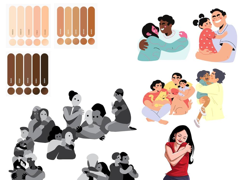 Source images of illustrations for final design, The Spectrums